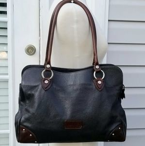 Valentina Dark Brown Pebbled Leather Shoulder Bag